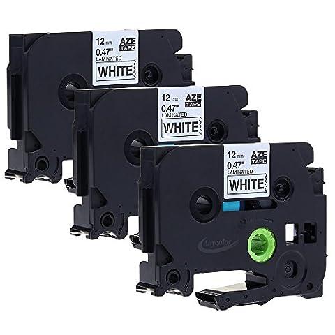 3x Ruban pour Etiqueteuse Compatible Brother TZe-231 / TZ231 Noir sur Blanc12mm x 8m Rubans étiquette Cassettes pour Brother P Touch 1000W 1010 1090 1830VP 2030VP 2100VP 2430PC 2470 2730VP 7100 VP7600VP H100R H300 D200VP