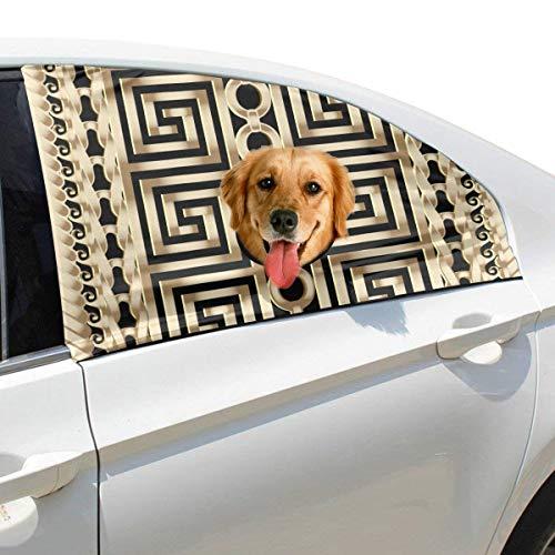 Plsdx Abstrakte Manders Ornament Haustier Hund Sicherheit Autoteil Fahrzeug Auto Fenster Zaun Vorhang Barrieren Protector Für Baby Kind Sonnenschutz Abdeckung Universal Fit SUV