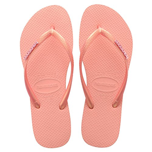 Havaianas Damen Slim Logo Flip Flop Sandalen Zehentrenner Sommer Strand Schuhe Rosa