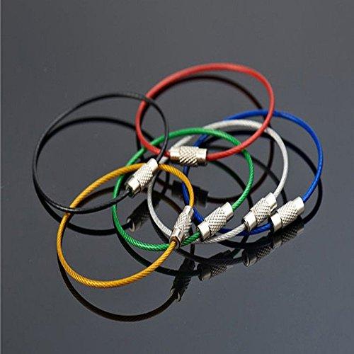 20 porte-clés Nicebuty - En fil d'acier inoxydable - 5 couleurs assorties : noir, argent, bleu, vert, rouge