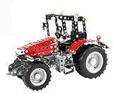 Tronico 10082 - Metallbaukasten Traktor Massey Ferguson 5430, Junior Serie, Maßstab 1:24, 658-teilig, rot