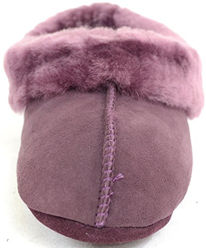 Mesdames/pour femme de luxe 100% FULL véritable peau de mouton Chaussons avec semelle souple Prune