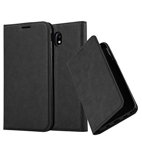 Cadorabo Hülle für Samsung Galaxy J5 2017 (7) - Hülle in Nacht SCHWARZ - Handyhülle mit Magnetverschluss, Standfunktion & Kartenfach - Case Cover Schutzhülle Etui Tasche Book Klapp Style