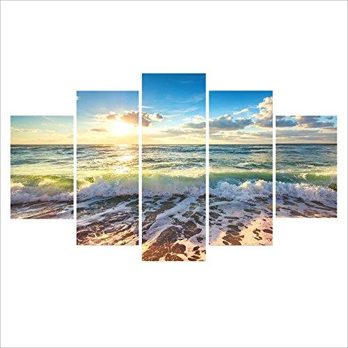 Baytter 5-Teiliges Bild auf Leinwand Kunstdrucke Wandbilder für Wohnzimmer Schlafzimmer Küche Esszimmer Badezimmer Hotel Sonne Wald See Meeresstrand, ohne Rahmen (Meeresstrand)