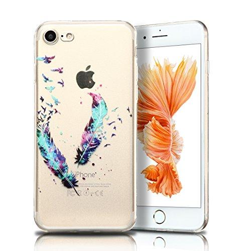 Cover iPhone 7 Custodia iPhone 7 Silicone Anfire Morbido Flessibile TPU Gel Case Cover per Apple iPhone 7 (4.7 Pollici) Ultra Sottile Clear Trasparente 3D Copertura Antiurto Bumper Protettivo Skin Car Piume Blu