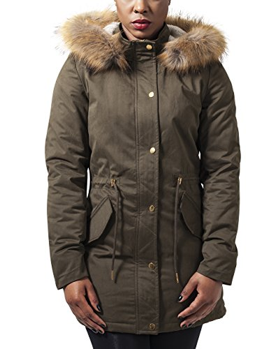 Urban Classics Ladies Sherpa Lined Peached Parka, Giacca Donna, Grün (Olive 176), 42