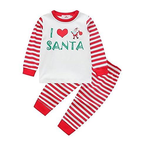 """PanDaDa """"I Love Santa"""" Striped Weihnachten Familie passenden Pyjamas für Mama Papa Kinder Baby Nachtwäsche Outfits Cute Nachtwäsche"""