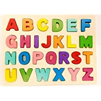 Seven Moon Wooden 3D Alphabet ABC Puzzle and Color Learning for Kids Early Education Game Upper Case Chunky Letters…