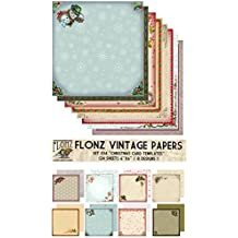 "Paper Pack (24sh 6""x6"") Retro Christmas Cards Templates FLONZ Vintage Paper for Scrapbooking and Craft"