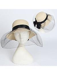 HONEY Cappello Di Paglia Visiera Delle Donne Del Cappello Retro Con Un Velo  Cappello Da Pescatore 94a8440dbc72