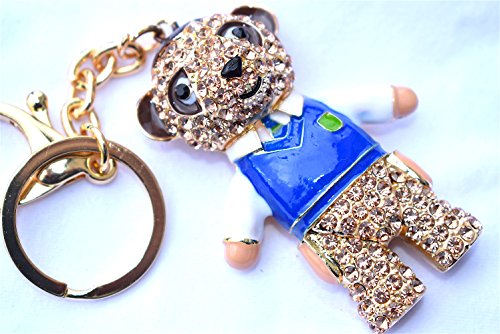 Image of Large Hand Bag Charm with Keyring Rhinestone on Golden Metal New (Meerkat Blue Shirt)