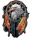 Aufnäher, Aufbügeler, Motiv: Adler-Traumfänger mit Federn, groß