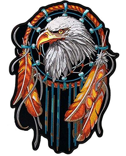 Aufnäher, zum Aufbügeln, Adler, Traumfänger, Feder, klein
