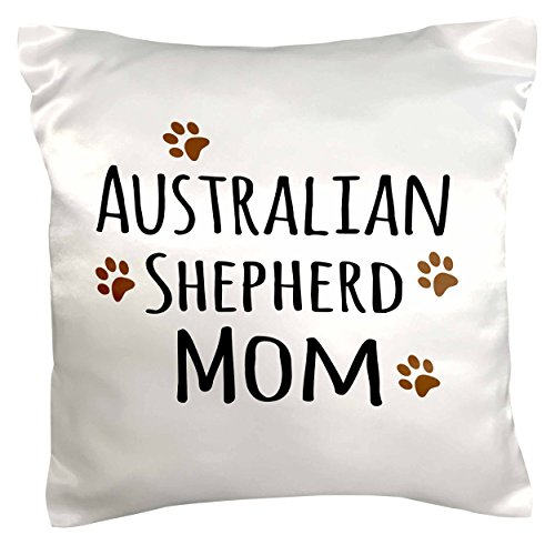 3drose PC _ 154061 _ 1 Australian Shepherd Dog Mom Hund X Rasse Muddy Braun Paw Prints Doggy Lover Love Pet Inhaber Mama Kissen Fall, 40,6 x 40,6 cm (Australian T-shirt Shepherd Dog)