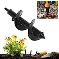 "BURFLY 9"" Planter Garden Spiral Drill Bit, Auger Hole Digger Drill Bit Attachment for Yard Butler Bulb Post Attachment 46*370 mm"