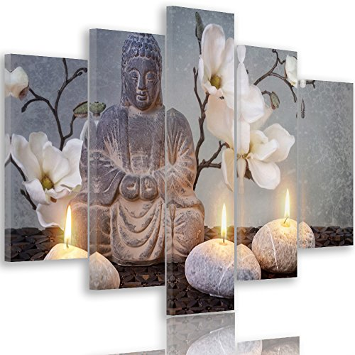 Feeby frames, quadro multipannello di 5 pannelli, quadro su tela, stampa artistica, canvas tipo a, 100x200 cm, buddha, cultura, candele, fiori, zen