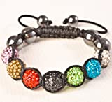 Nambeads Mixed Multi Colour Rainbow Swarovski Crystal Bead SHAMBALLA BRACELET with 9 Iced out Disco ball beads covered in crystals and 4 highly polished Hematite beads. Beautiful handmade high quality Celebrity Fashion bracelet. Check our range of colours