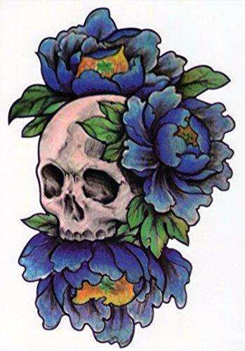 Temporäre Tattoos Temporary Tattoo Fake Tattoo -TOTENKOPF BLAU BLUME-