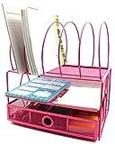 Bandeja organizadora de escritorio, 5secciones, con cajón, diseño de rejilla, bandeja doble para cartas, color rosa