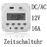 EMOTREE DC/AC 12V 16A LCD Digital-Display Haushaltsgerät Zeitschaltuhr Timer Programmierbar