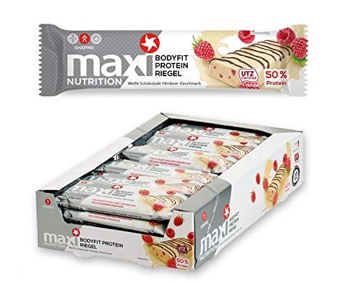 MaxiNutrition Bodyfit Proteinriegel Weiße Schokolade-Himbeere - Low Carb, High Protein Bar für den Muskelaufbau und einen Energiekick - 24 x 40 g Eiweiß Riegel