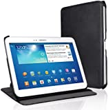 EasyAcc® Samsung Galaxy Tab 3 10.1 PU Leather Smart Case Book Cover Flip Cover with Stand / Auto Sleep Wake-up for Samsung Galaxy Tab 3 10.1 P5200 (Premium PU Leather, Black)