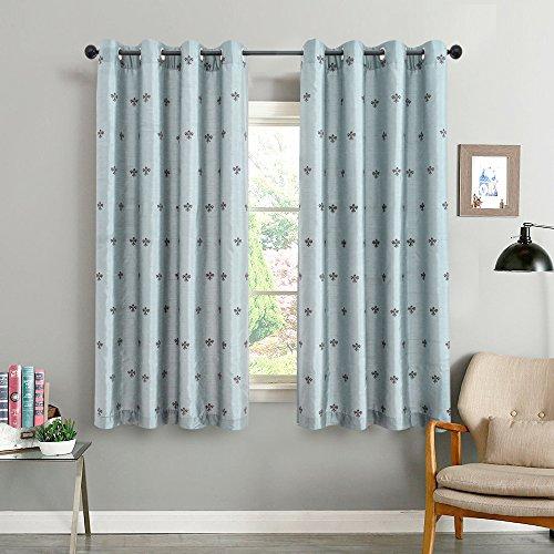 TOPICK künstliche Seide Vorhang mit gestickten Krone Ösen Gardinen 140 x 175 cm 2er set Blau (Seide Öse Gestickte)