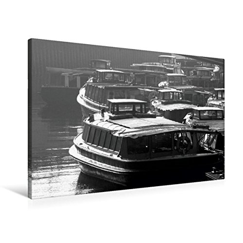 Calvendo Premium Textil-Leinwand 90 cm x 60 cm quer, wartende Touristenboote | Wandbild, Bild auf Keilrahmen, Fertigbild auf echter Leinwand, Leinwanddruck Mobilitaet Mobilitaet