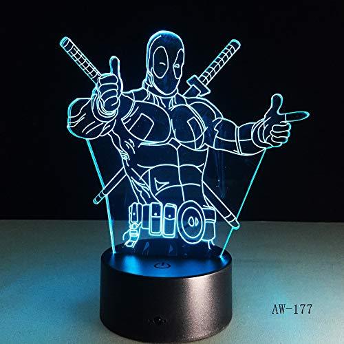 Illusions-Stimmungsnachtlichtlampenluminaria-Raumdekorations-Neuheit der Zeichentrickfilm-Figur Antiheld Deadpool LED beleuchten 3D -177