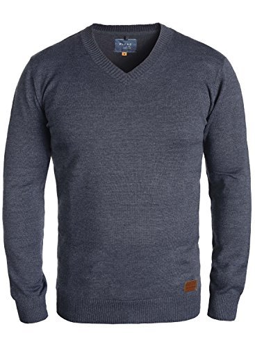 BLEND Lasse Herren Strickpullover Feinstrick Pulli mit V-Ausschnitt aus hochwertiger Baumwollmischung Meliert, Größe:M, Farbe:Ensign Blue (70260) (Blue V-neck-gerippte)