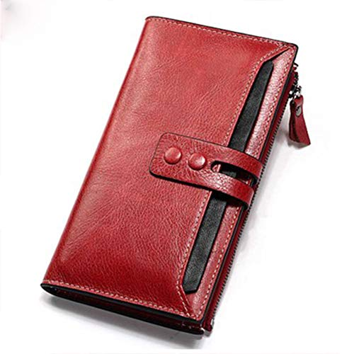 Señoras largas billetera cremallera hebilla multi-tarjeta