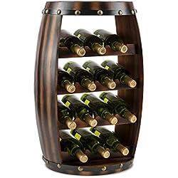Klarstein Barrica Botellero para vino (estantería para 14 botellas, diseño barril rústico, base circular con almohadillas de goma, barnizado) - madera de abeto