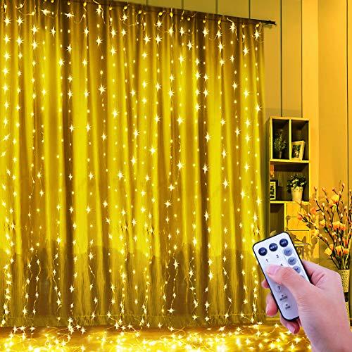 Tenda luminosa, tenda luci, fishoaky 300 led 3mx3m catena luminosa luci stringa catene luminose per interno, esterno, giardino,finestra, vacanze, party, halloween,outdoor decorazione(bianco caldo)