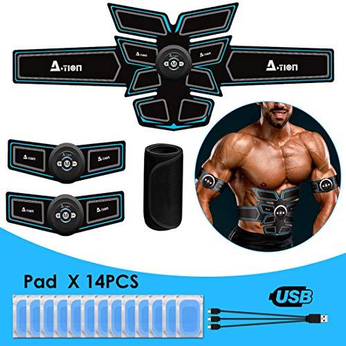 A-TION EMS Trainingsgerät für Frauen Männer, Professioneller Bauchmuskeltrainer Gürtel mit USB Wiederaufladbar Fitness Elektrostimulation (Gel Pads 14pcs + Sauna Bauchweggürtel)