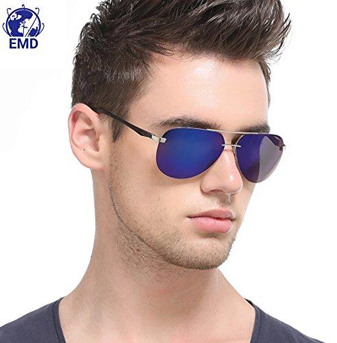Sonnenbrille im Pilotenstil - polarisiert – verspiegelt –UV 400–sehr leicht aus alu-magnesium-Legierung –Flex-Scharnier – Herren, Damen – empfohlen für Automobilindustrie, Luftfahrt, Motorrad, Fischerei und den Sport, blau