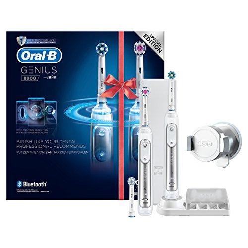 Foto de Oral-B Genius8900 Pack con 2 cepillos de dientes eléctricos, 3 cabezales de recambio y un estuche de viaje