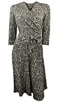 Marks & Spencer Coffee & Grey Print Dress with Wrap Top & A Line Skirt 3/4 Length Sleeves