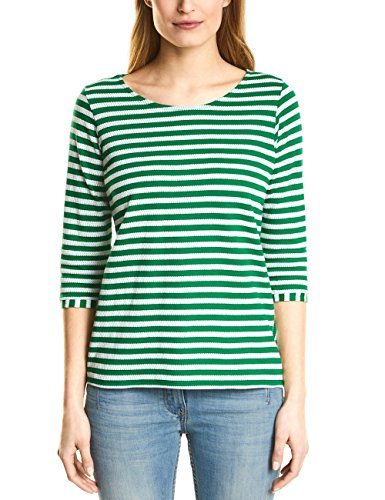 Clover Green T-shirt (Cecil Damen 311863 Lydia Langarmshirt, Mehrfarbig (Clover Green 21279), L)