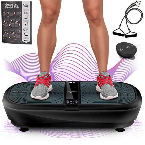Sportstech Plataforma vibratoria para Adelgazar VP300,tecnología oscilacion 3D, 2 Motores de 1000W de Potencia + música por Bluetooth, Superficie Amplia + Bandas elásticas + Mando Distancia +Poster