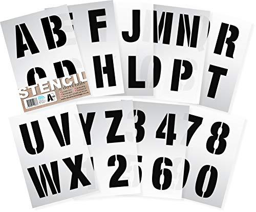 10 cm hohe Alphabet Schablonen sehr große Buchstaben / Zahlen 0-9. MODERN Großbuchstaben auf 9 Blatt 29.5 x 20 cm