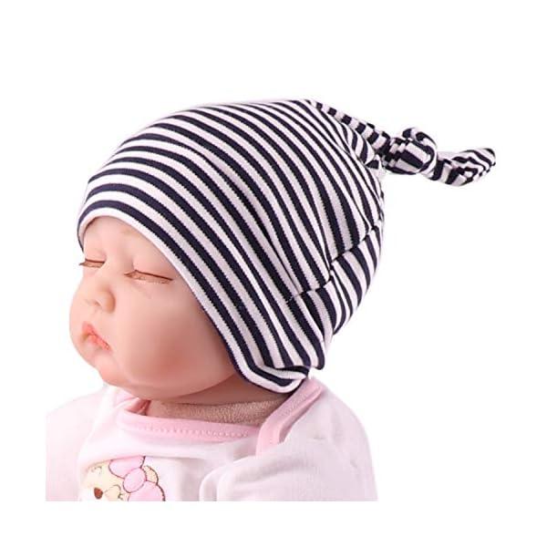 Snyemio Algodón Gorra para Bebé Beanie Nudo Sombrero Recién Nacido Chicos Chicas Unisex 3 Ajustable 0-6 Meses 4