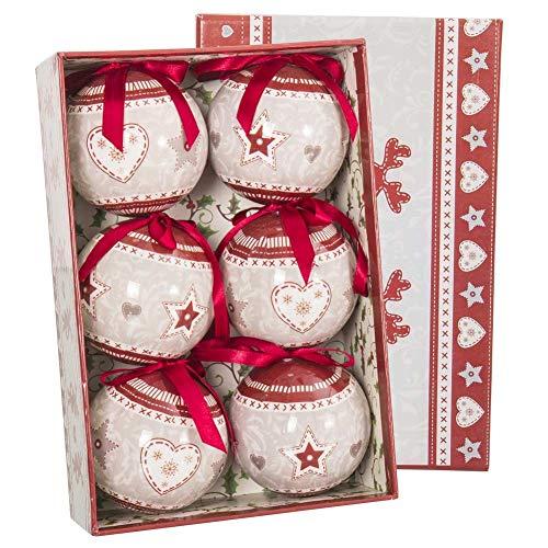 Bakaji christmas set 6 palline natalizie tortora e rosso decorazione cuori e stelle bianco diametro 7,5cm con fiocco decorazioni natale
