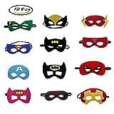 Morkia maschere super-héros, 12pcs maschere per bambini Dress Up Maschera di super-héros Cosplay per bambini regalo di compleanno e festa Di Compleanno Per Ragazze, Ragazzi e Bambini
