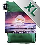 Silkrafox XL - sacco a pelo ultraleggero in seta artificiale, sacco lenzuolo, misura extralarge 95 cm, verde