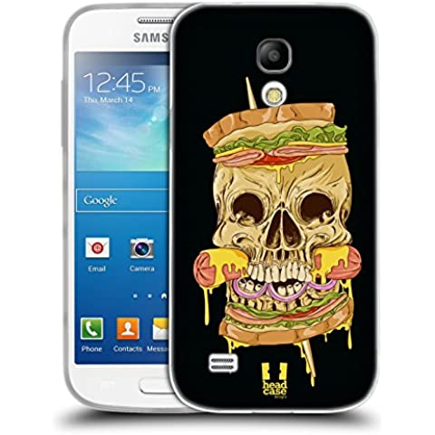 Head Case Designs Cheese and Sausage Skull Sandwiches Soft Gel Back Case Cover for Samsung Galaxy S4 mini I9190 Duos I9192
