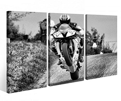 Leinwandbild 3 Tlg. Motorrad Sport Bike Racing Rennen Leinwand Bild Bilder Holz fertig gerahmt 9P922, 3 tlg BxH:120x80cm (3Stk 40x 80cm) - Iii Gerahmt Leinwand