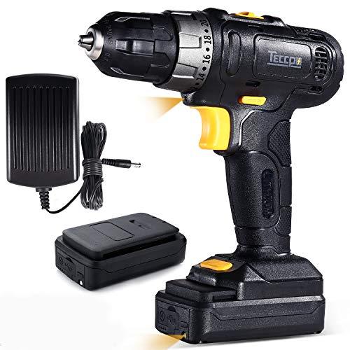 Perceuse Visseuse sans fil, TECCPO Professional Perceuse sans Fil 27Nm, 2 Batteries 2.0Ah, 27 Accessoires, 20+1 Réglages, Peut percer le bois, l'acier, 2 Vitesses Réglables - TDCD02P