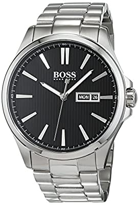 Hugo Boss The James Mens Quartz Black Analogue Classic Silver Stainless Steel Bracelet 1513466