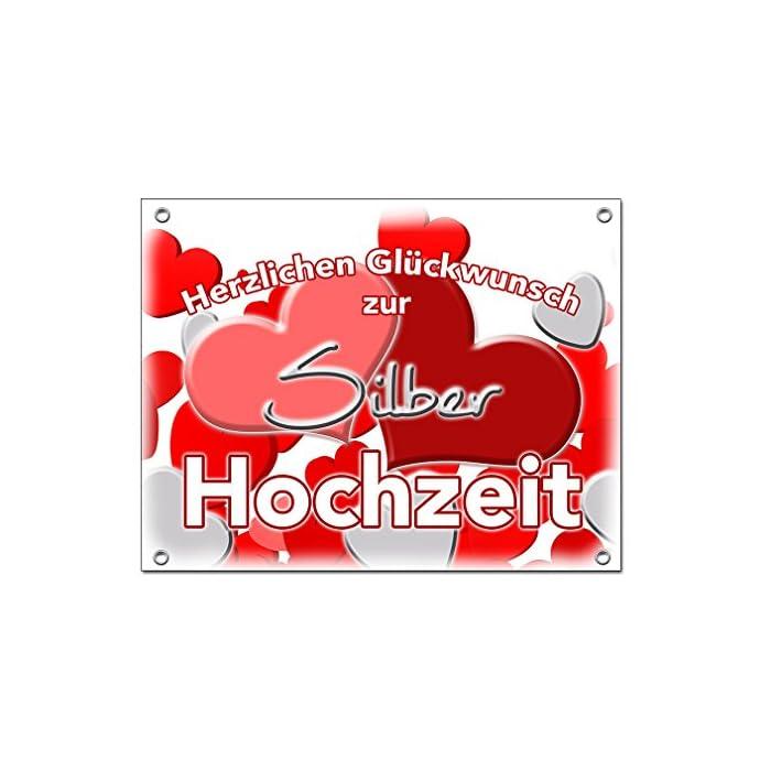 Hochzeitsbanner Hochzeitsplane Silberhochzeit Hochzeitslaken PVC 1,30m x 1,00m zur Silbernen Hochzeit