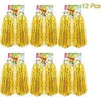 Creatiees 1 Dozen Premium Cheerleading Pom Poms, 12Pcs Plastic Cheerleader Pompoms Hand Flowers with Ring Design for Sports Cheers Ball Dance Fancy Dress Night Party Team Spirit (Yellow)